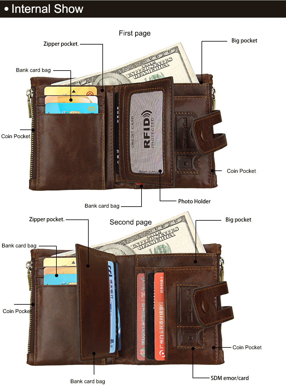 Short Genuine Leather Cowhide Men Wallet Business Card Coin Money Male Purse Card Holder