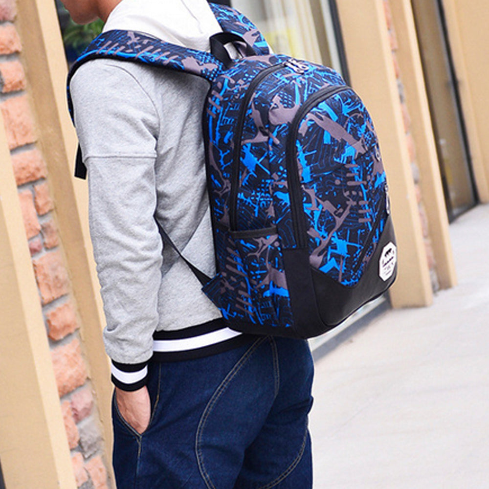 Men's Backpack Set 3Pcs Canvas Brief Large Capacity Preppy Backpack
