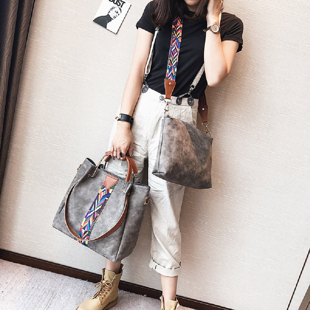 New Handbags Colorful Straps Frosted Leather Bags