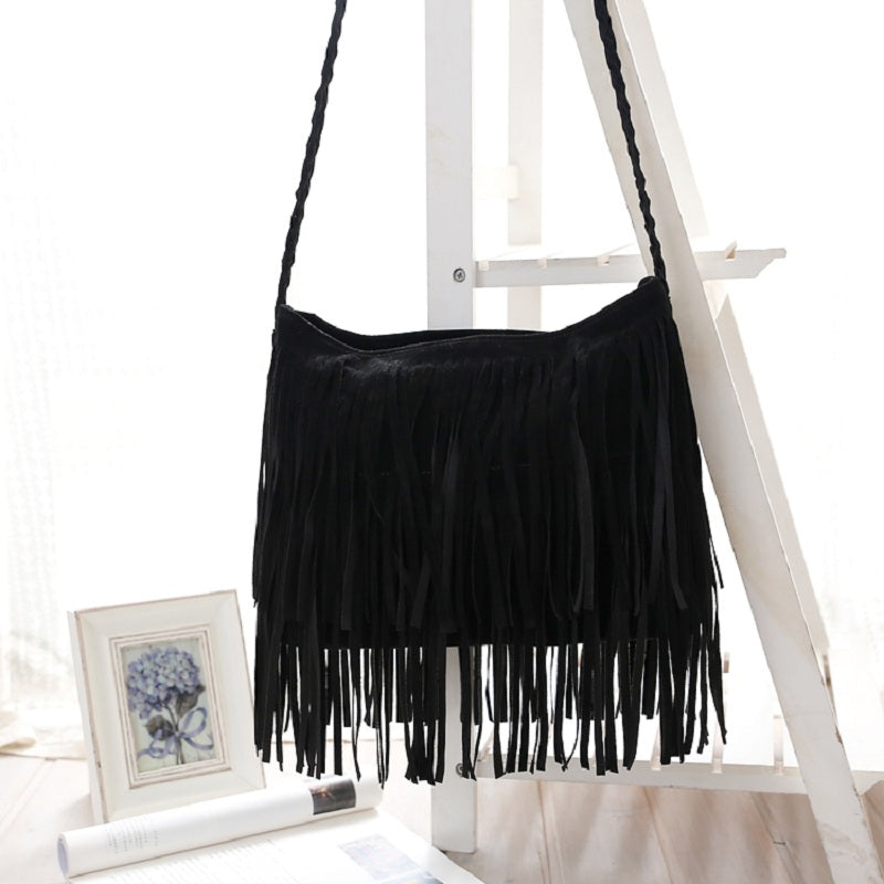 Faux Suede Fringe Tassel Shoulder Bag Women's fashion Handbag Crossbody Bag Messenger Bags Four Colors
