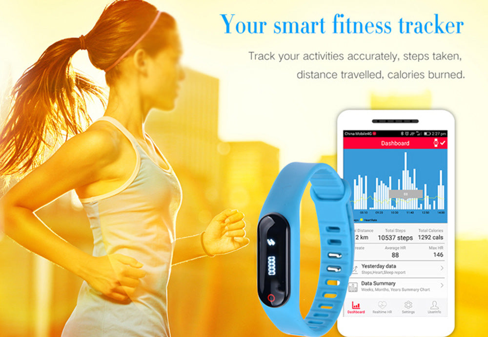 Little Black Heart Rate Smart Bracelet Bluetooth 4.0 Calorie Pedometer Tracker Sport Wristband for Android iOS