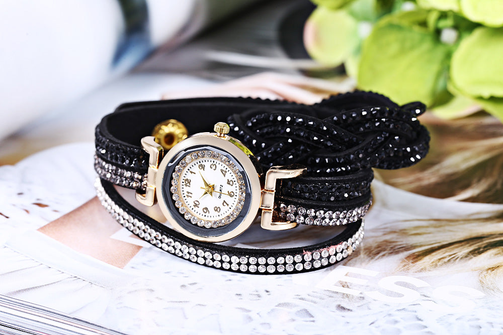 Women Bracelet Quartz Wrist Watch Round Shaped Rhinestone Decorated Fastener Stainless Steel Leather Band