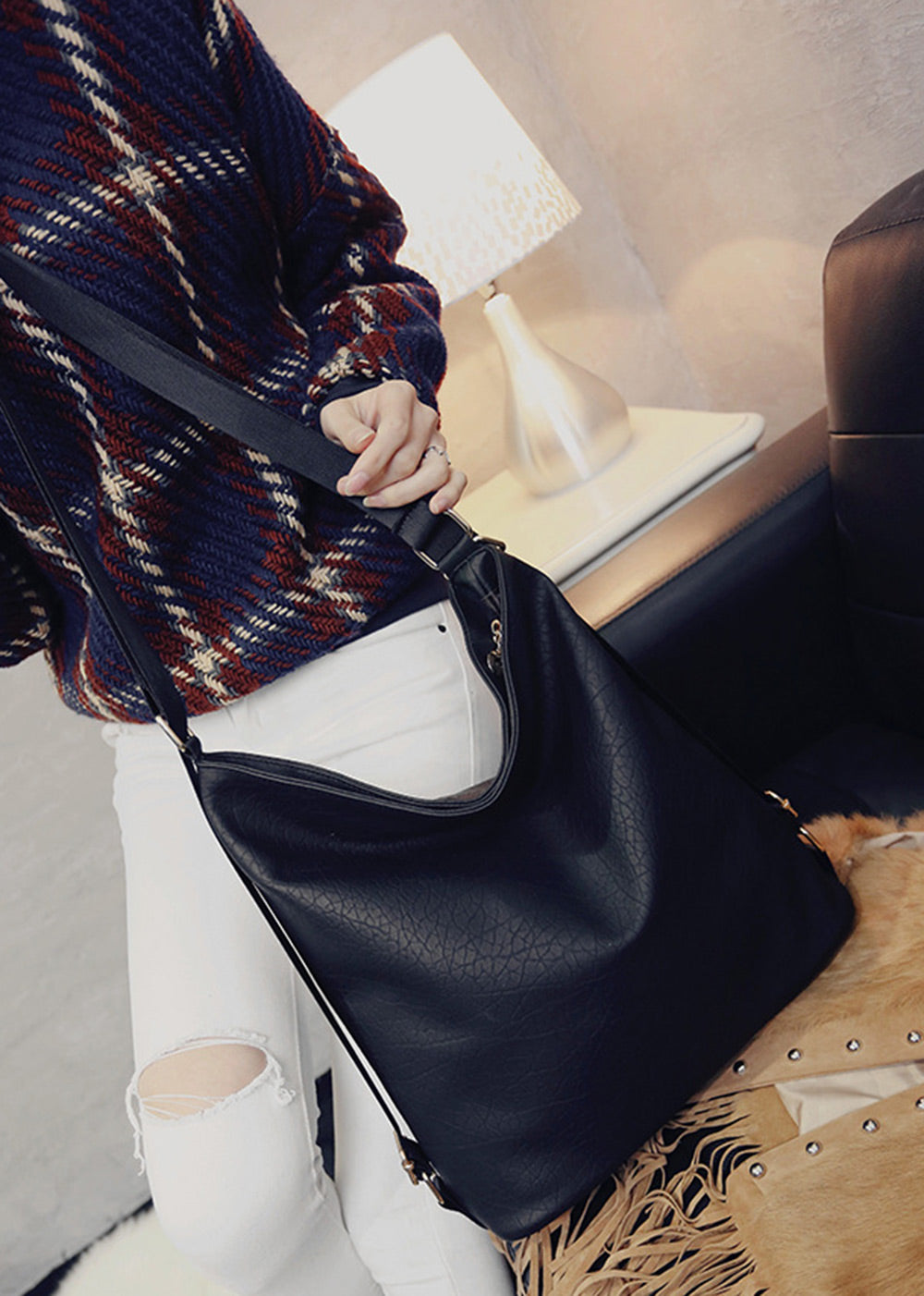 Guapabien Solid Color Magnetic Zipper PU Leather Travel Shopping School Shoulder Girl Bag