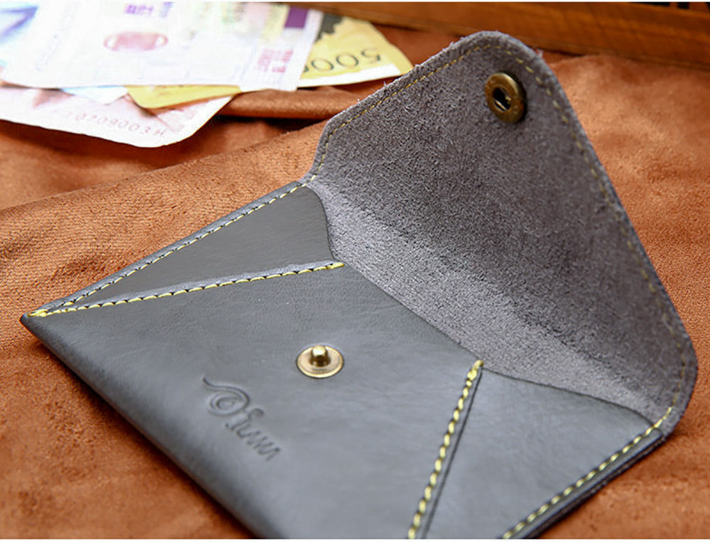 Cute Matte PU Leather Ultra-thin Envelope Design Pure Color Mini-card Wallet