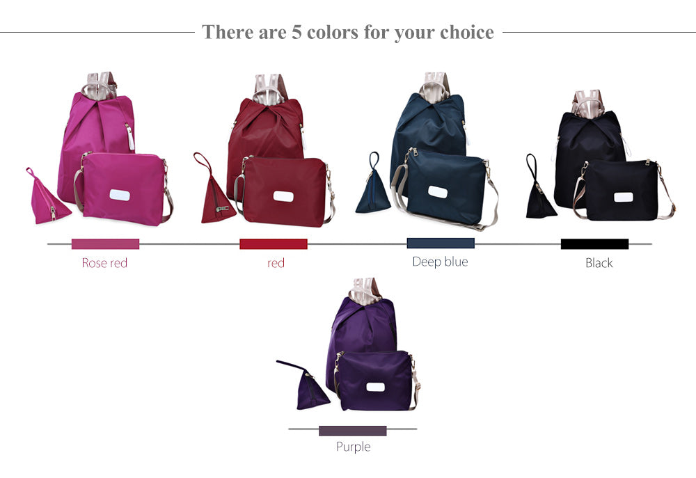 Lady 3pcs Solid Color Handbag Tote Portable Backpack Shoulder Messenger Bag Wrist Wallet Coin Purse