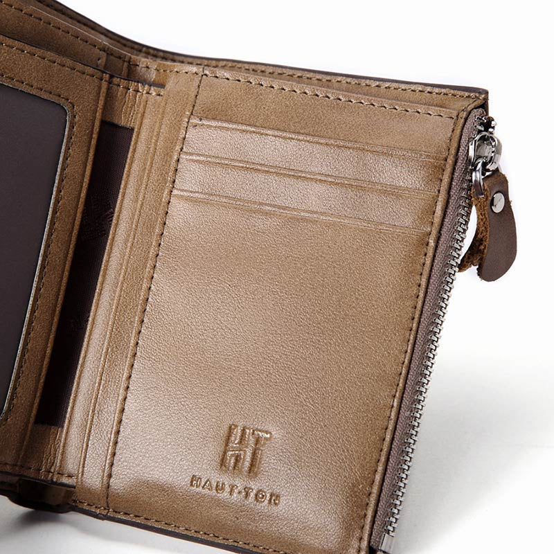 HAUTTON Genuine Leather Trifold Wallets for Men Credit Card Protector