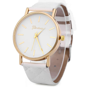 Women Quartz Watch Checks Leather Band Round Dial