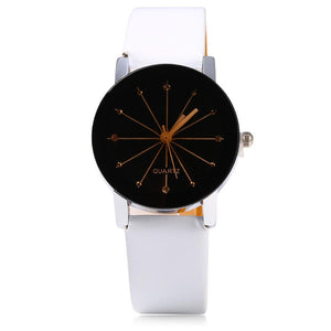 Ladies Quartz Watch Line Dial Leather Band