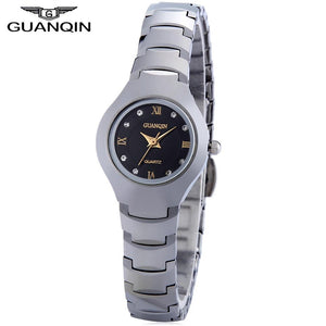 GUANQIN 6037L Female Quartz Watch 10ATM Artificial Diamond Dial Tungsten Steel Band Wristwatch