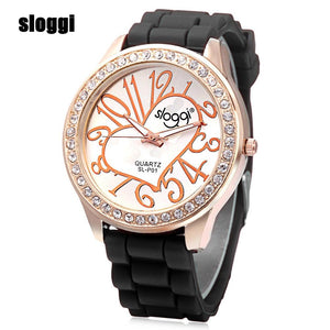 Sloggi Women Quartz Watch Luminous Heart Pattern Rhinestone Dial Silicone Band Wristwatch