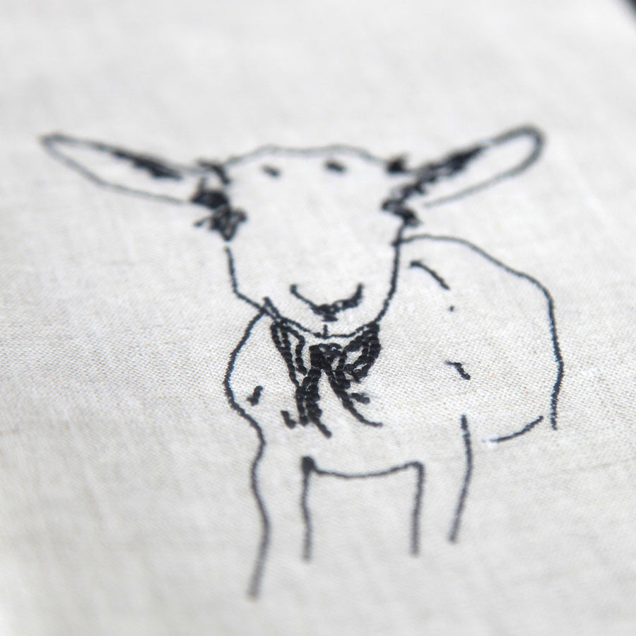 Embroidered Goat Tea Towel - Luna