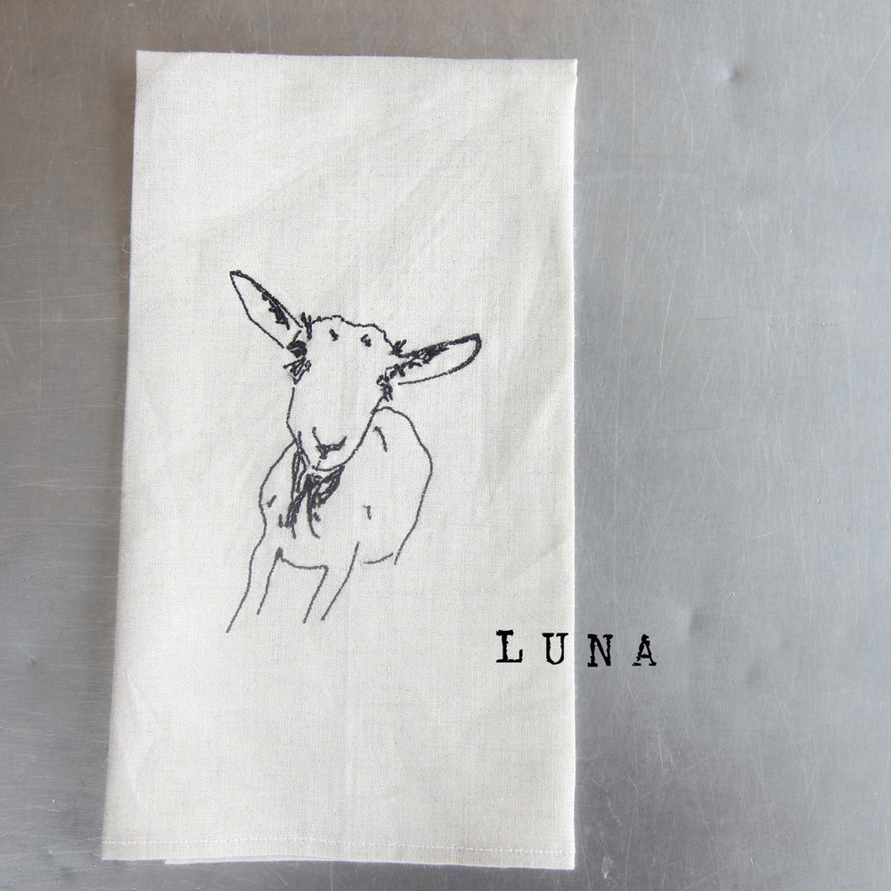 Set of Embroidered Goat Linen Tea Towels
