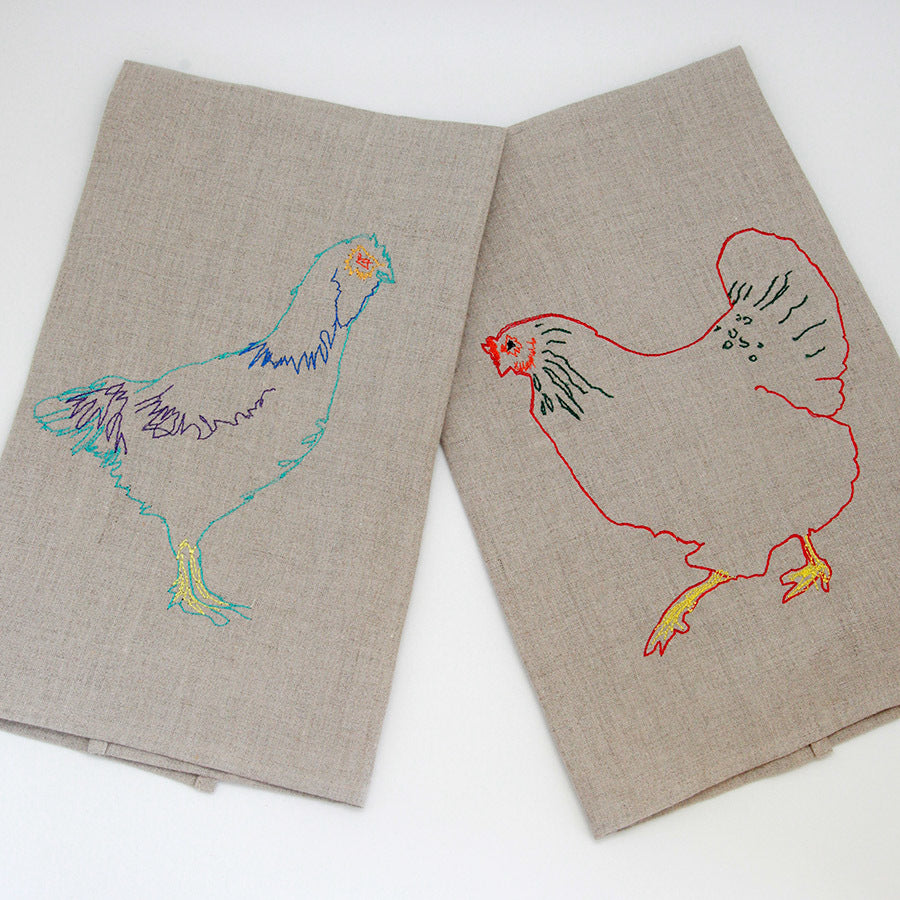 Set of Embroidered Heirloom Hen Tea Towels