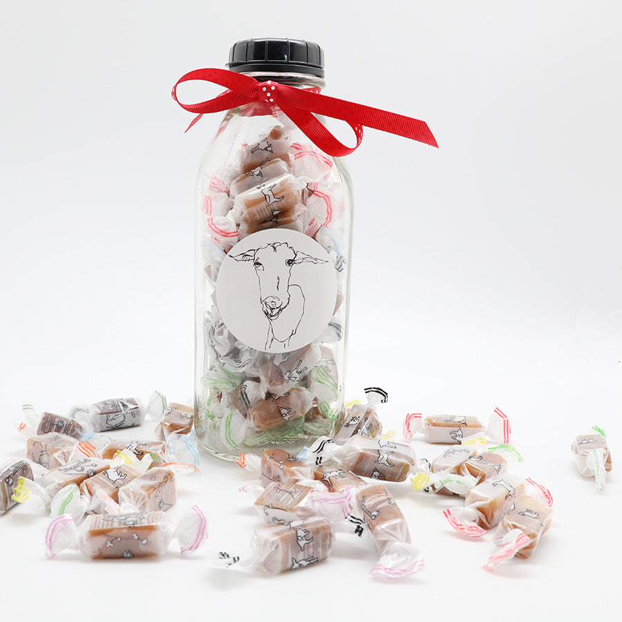Glass Milk Jug loaded with Caramels