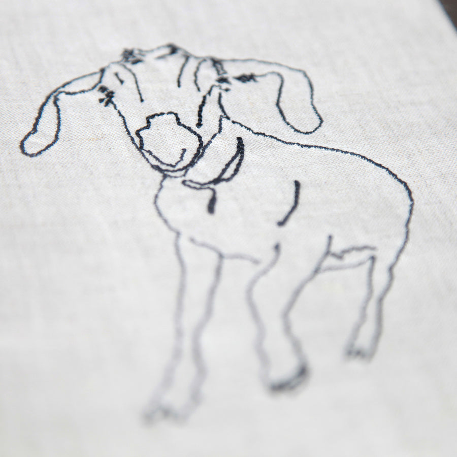 Embroidered Goat Tea Towel - Junebug