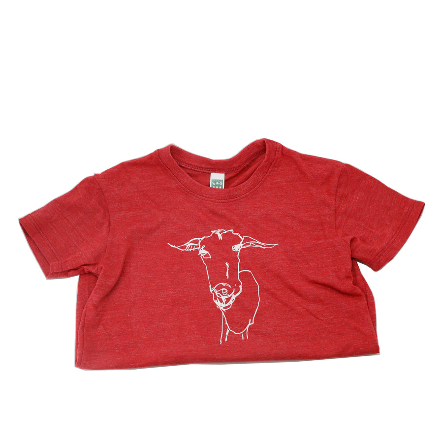 LoGOAT Kids Size Super Soft Tee in Red & Charcoal