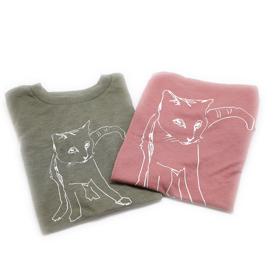 Cat Kids Size Super Soft Tee in Olive or Mauve