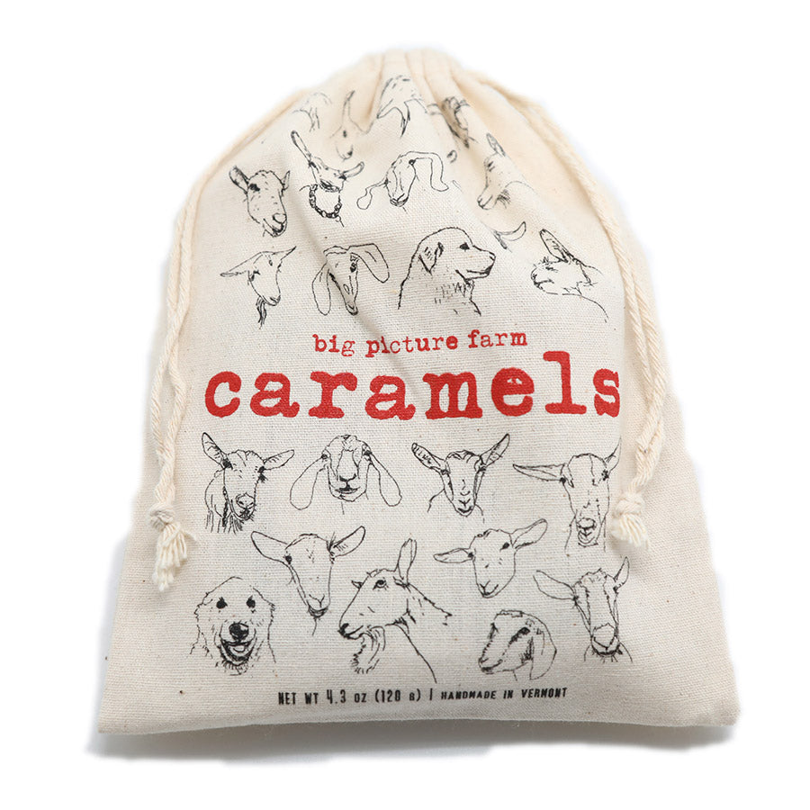 Caramels in a super cute satchel with all the goat faces!