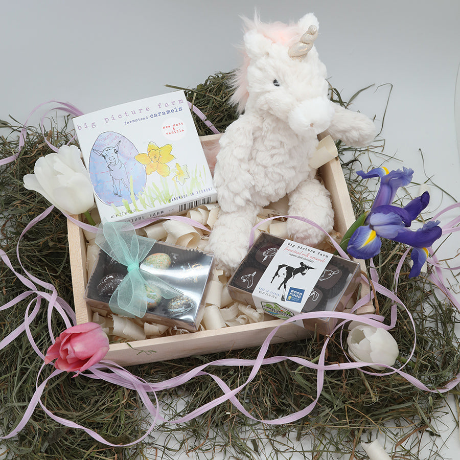 Easter Bunny Basket with Unicorn Stuffy