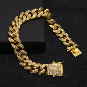 14mm Triple Lock Urban Imitation Diamond Cuban Link Bracelet