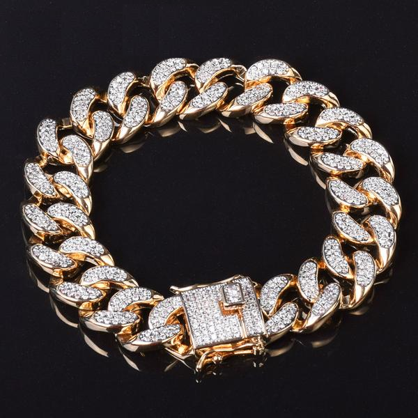 20cm 24K Gold Urban Imitation Micro Diamonds Bracelet
