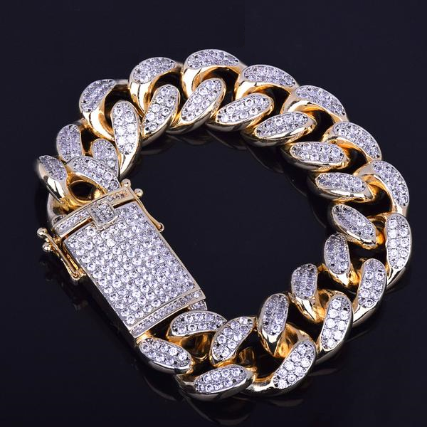 21cm 24K Gold Urban Imitation Diamond Bracelet