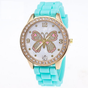 Butterfly Themed Quartz Watch w/ Silicone Band