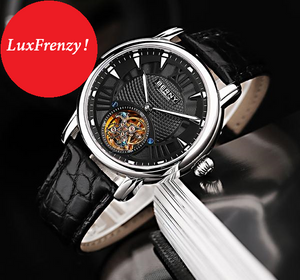 Limited Edition Tourbillon Mechanical Watch Alligator Skin Leather Strap