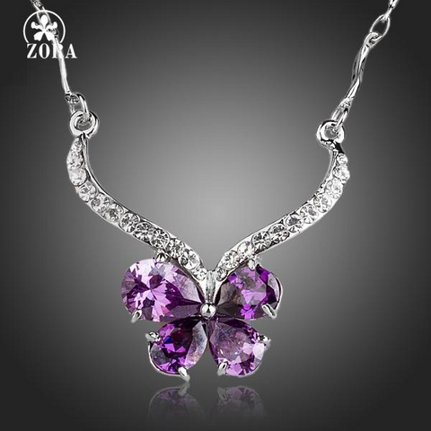 Butterfly Themed Pendant Necklace w/ Austrian Crystals & AAA CZ