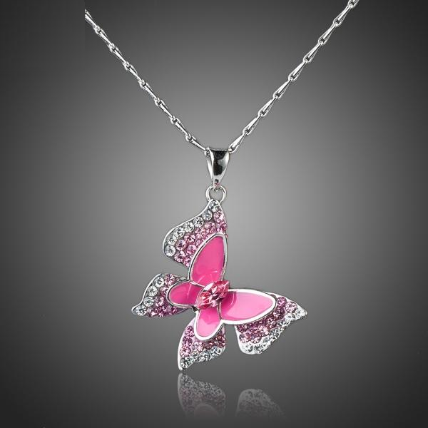 Butterfly Themed White Gold Pendant Necklace w/  Austrian Crystals