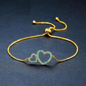 Duo Heart Themed Golden Bracelet