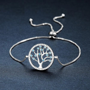 White Gold Tree Of Life Themed Bracelet