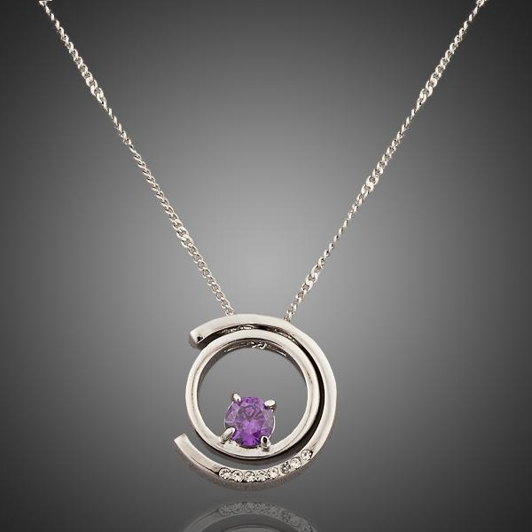 White Gold Pendant Necklace w/ Austrian Crystal (Indigo)