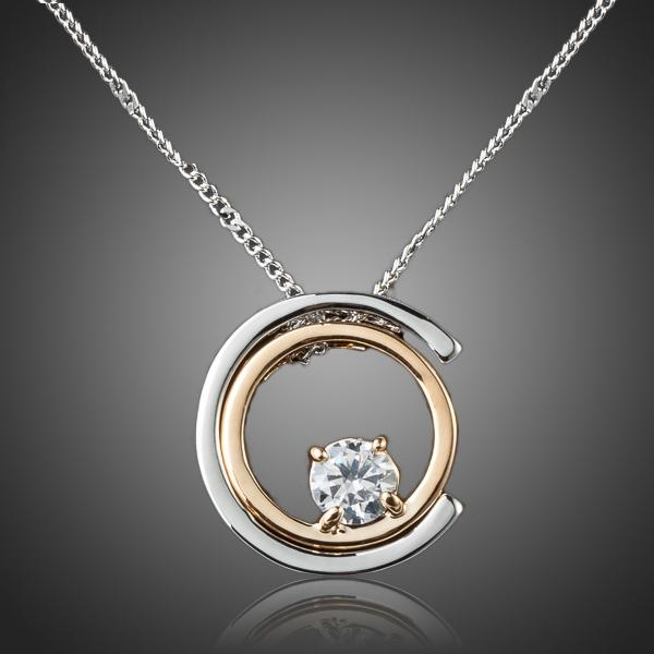 White Gold Pendant Necklace w/ Austrian Crystal (Clear)