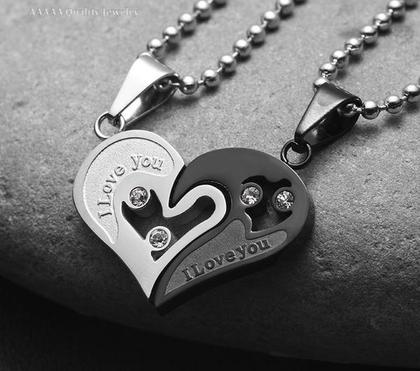 "UNISEX ""I love you"" Pendant Necklace w/ Rhinestones"