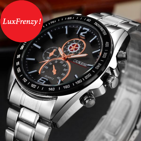 Stainless Steel Business Style Quartz Movement Timepiece