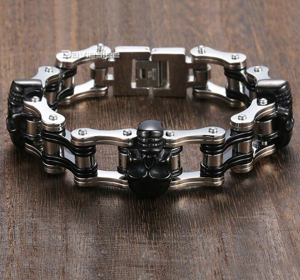 Skull Themed Biker Inspired 316L Stainless Steel Bracelet