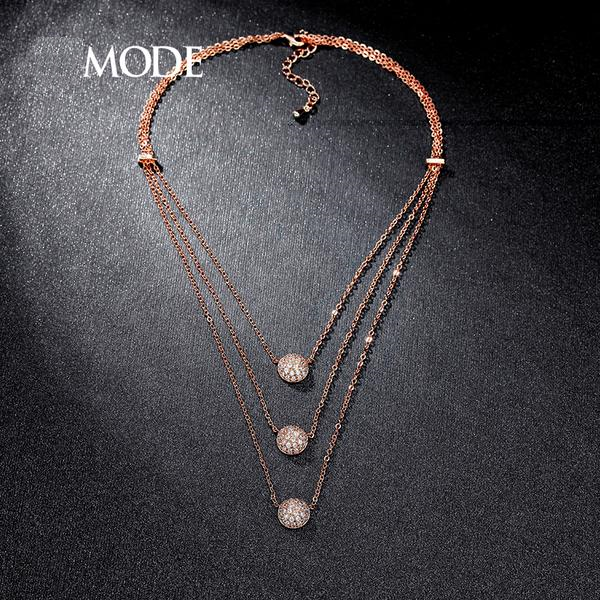 Rose Gold Triple Layered Necklace AAA+ Micro Round Cut Clear CZ