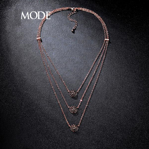 Rose Gold Triple Layered Necklace AAA+ Micro Round Cut Black CZ