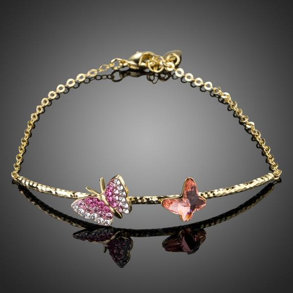 Duo Butterfly Golden Bracelet w/ Austrian Crystals