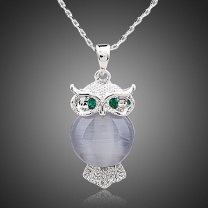 Owl Themed Pendant Necklace w/ Austrian Crystals