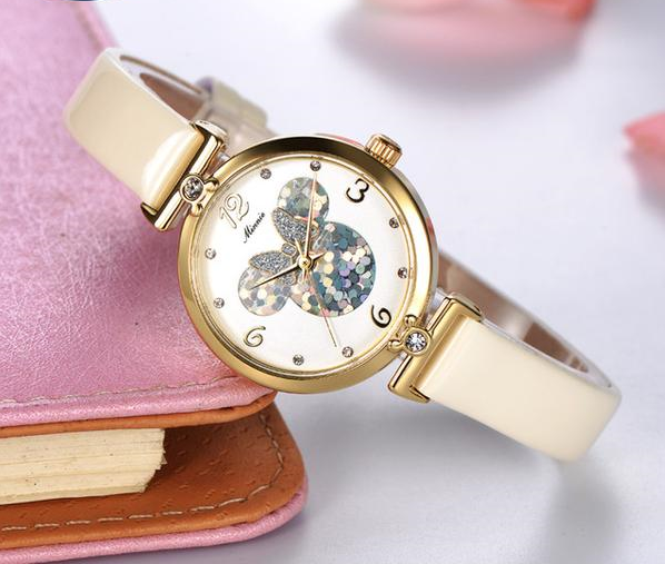 Limited Edition MINNIE Themed Quartz Wristwatch w/ Genuine Leather Strap
