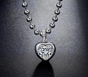 Heart Themed White Gold Pendant Necklace w/ AAA CZ