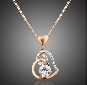 Heart Themed Rose Gold Pendant Necklace w/ Austrian Crystals