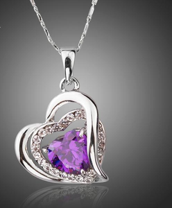 Heart Themed Pendant Necklace w/ AAA CZ