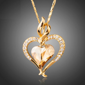 Heart Themed Genuine Gold Plated Pendant Necklace w/ Austrian Crystal