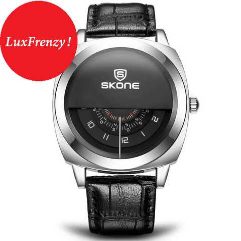Unisex Hardlex Crystal Military Designed Timepiece w/ Bycast Leather Strap