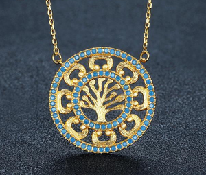 Golden Tree Of Life Themed Pendant Necklace