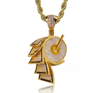 Gold Money Roll Themed Urban Imitation Diamond  Pendant Necklace