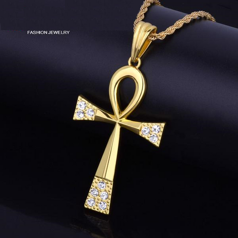 Gold Key Of Life Themed Necklace